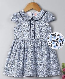 Babyhug Cap Sleeves Frock Floral Print - Off White & Navy