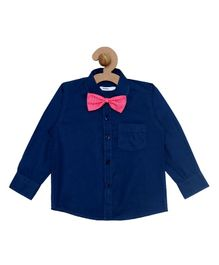 Campana Solid Full Sleeves Shirt With Bow - Blue