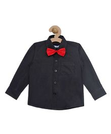 Campana Solid Full Sleeves Shirt With Bow - Black