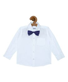 Campana Solid Full Sleeves Shirt With Bow - White