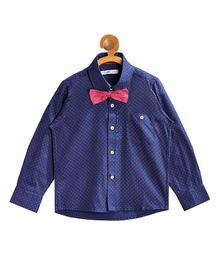 Campana Printed Full Sleeves Shirt With Bow - Blue