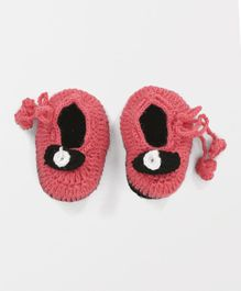 MayRa Knits Knitted Side Knot Closure Booties - Pink