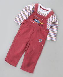 Olio Kids Corduroy Dungaree Romper With Striped Inner Tee Copter Patch - Dark Red