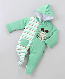 Child World Full Sleeves Winter Wear Footed Romper Puppy Patch - Green