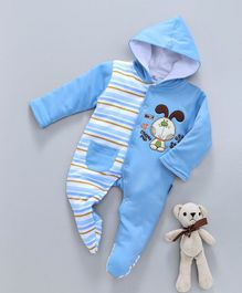Child World Full Sleeves Winter Wear Footed Romper Puppy Patch - Blue