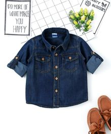 Babyhug Full Sleeves Denim Shirt With Wooden Buttons - Navy Blue