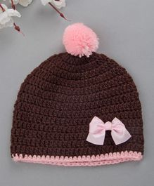 Buttercup From Knitting Nani Cap With Bow Applique & Pom Pom - Brown