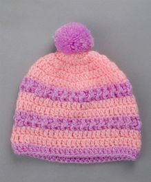 Buttercup From KnittingNani Striped Woolen Cap With Pom Pom - Pink & Purple