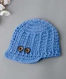Buttercup From KnittingNani Woolen Cap With Buttons - Blue