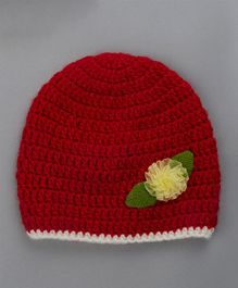 Buttercup From Knitting Nani Woolen Cap Flower Applique - Red