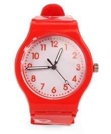 Leaf Print Analog Watch - Red