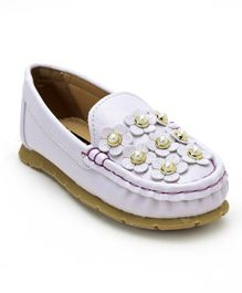 Cute Walk by Babyhug Loafers With Flower Motif - White