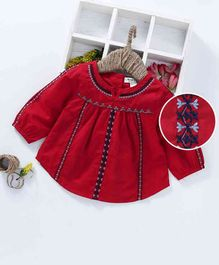 Memory Life Full Sleeves Embroidered Dress - Red