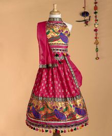 BownBee Peacock Design Choli With Dupatta & Lehenga Set - Pink