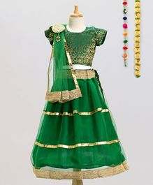 Aglare Choli Lehenga & Dupatta Set With Brooch - Green