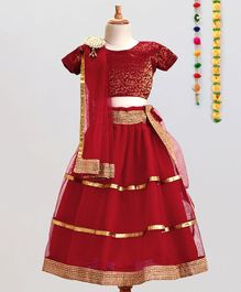 Aglare Choli Lehenga & Dupatta Set With Brooch - Red