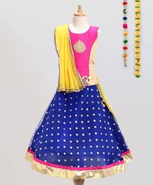 Aglare Choli With Dupatta & Lehenga Set - Blue & Pink