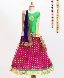 Aglare Choli With Dupatta & Lehenga Set - Green & Pink