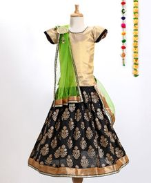 Aglare Choli With Printed Lehenga & Dupatta With Brooch - Black