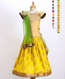 Aglare Choli With Printed Lehenga & Dupatta With Brooch - Yellow