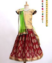 Aglare Choli With Printed Lehenga & Dupatta With Brooch - Maroon