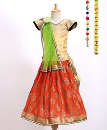 Aglare Choli With Printed Lehenga & Dupatta With Brooch - Orange