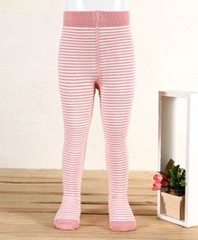 Mustang Footed Tights Striped - Pink Cream
