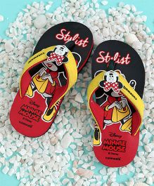 Cute Walk by Babyhug Flip Flops With Back Strap Minnie Mouse Applique - Black Red