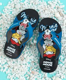 Cute Walk by Babyhug Flip Flops Minnie Mouse Applique - Blue Black