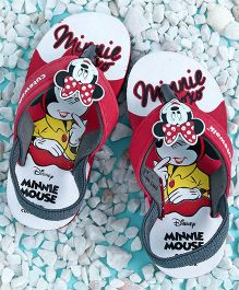 Cute Walk by Babyhug Flip Flops With Back Strap Minnie Mouse Applique - Red White