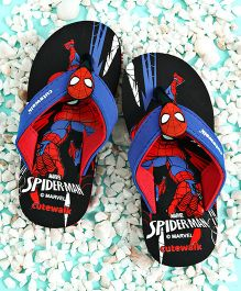 Cute Walk by Babyhug Flip Flops Spider Man Applique - Black Red