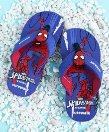 Cute Walk by Babyhug Flip Flops Spider Man Applique - Blue