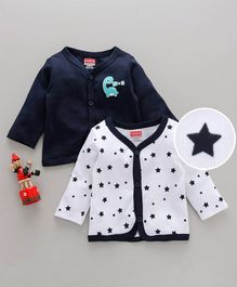 Babyhug Full Sleeves Cotton Vests Dino & Star Print Pack of 2 - White Navy Blue