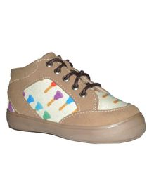 MOKS Printed Laced Casual Sneakers - Beige