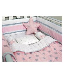Masilo Linen For Littles Organic Cotton Bedding Set With Dohar Star Print - Pink & White
