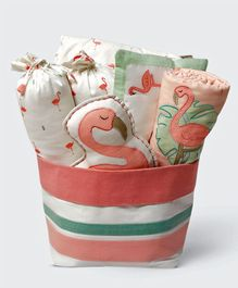 Masilo Linen For Littles Rock My Crib Dohar Gift Basket Set Peach White - Pack of 7