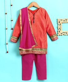 Pixie Dust Embroidered Long Sleeves Kurta & Pajama With Dupatta Set - Coral & Pink