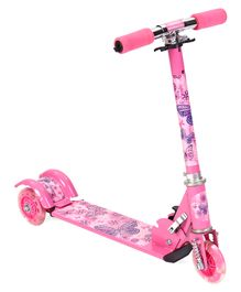 Three Wheels Foldable Scooter Butterfly Print - Pink