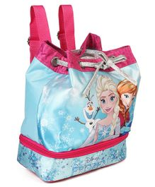 Disney Frozen Small Backpack With Drawstring Blue - Height  9.8 inches