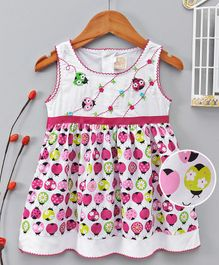 ABQ Ladybug Print Sleeveless Dress - White & Fuchsia