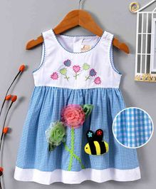 ABQ Flower Embroidery Checks Sleeveless Dress - Blue