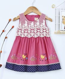 ABQ Flower & Duck Embroidered Sleeveless Dress - Fuchsia