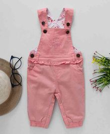 Happiness I Love Mom Print Sleeveless Dungaree Style Romper - Pink