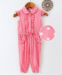Happiness Polka Dot Print Cap Sleeves Jumpsuit - Pink