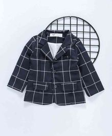Happiness Chequered Full Sleeves Blazer - Navy