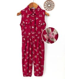 Happiness Floral Printed Sleeveless Jumpsuit - Maroon