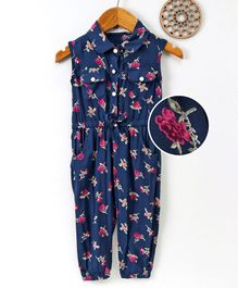 Happiness Floral Printed Sleeveless Jumpsuit - Blue