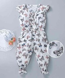 Happiness Butterfly Print Cap Sleeves Jumpsuit - White