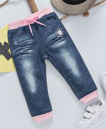 Happiness Sun Applique Full Length Jeans - Blue