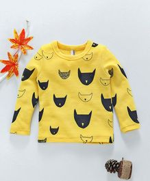 Baobaoshu Animal Print Full Sleeves Tee - Yellow